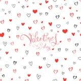 Cartão do dia do ` s do Valentim com teste padrão dos corações do amor Foto de Stock Royalty Free