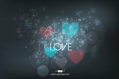 Cartão do dia do Valentim feliz com corações Imagem de Stock