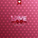 Cartão do dia do Valentim feliz com corações Foto de Stock