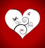 Cartão do dia dos Valentim com coração e pássaros Fotos de Stock Royalty Free
