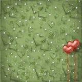 Cartão do dia dos Valentim com corações Imagens de Stock Royalty Free