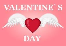 Cartão do dia dos Valentim Coração com asas Ilustração do vetor Fotos de Stock Royalty Free