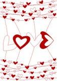 Cartão do dia dos Valentim do fio do amor Fotos de Stock