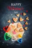 Cartão do dia dos Valentim Dia do `s da matriz O dia da mulher Cookies na forma dos corações para o dia do ` s do Valentim Fotos de Stock