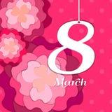 Cartão do dia do ` s das mulheres com flores de papel Cartão floral ou Fotografia de Stock