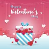Cartão do dia do ` s do Valentim Uma caixa de presente com muitos coração-deu forma ao estilo de papel do ofício da arte para den Imagens de Stock