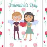 Cartão do dia do Valentim s com pares bonitos no amor ilustração stock