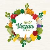 Cartão do dia do vegetariano do mundo com ícones vegetais imagens de stock