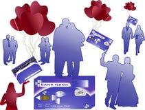 Cartão do dinheiro de banco com silhuetas Ilustração do Vetor