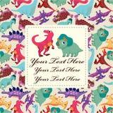 Cartão do dinossauro dos desenhos animados Fotografia de Stock