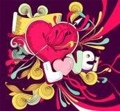 Cartão do divertimento com coração ilustração royalty free