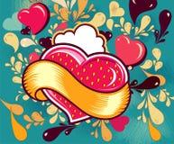 Cartão do divertimento com coração Fotografia de Stock