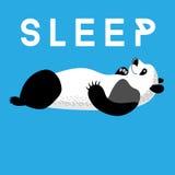 Cartão do divertimento com um sono da panda ilustração royalty free