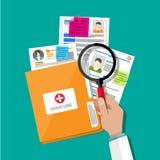 Cartão do dobrador e do paciente, lupa da mão ilustração stock