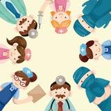 Cartão do doutor e da enfermeira dos desenhos animados Imagem de Stock
