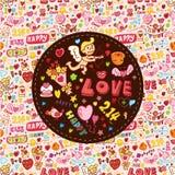 Cartão do elemento do amor dos desenhos animados Foto de Stock Royalty Free