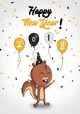 Cartão do esquilo do ano novo 2018 Imagens de Stock