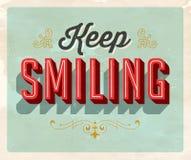 Cartão do estilo do vintage - mantenha sorrir Foto de Stock Royalty Free