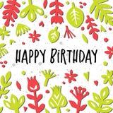 Cartão do feliz aniversario Abstraia o fundo floral Cartão ou cartaz com elementos florais de papel Entalhe floral Fotografia de Stock