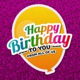 Cartão do feliz aniversario com balão agradável Fotografia de Stock Royalty Free