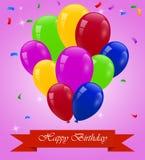 Cartão do feliz aniversario com balões Fotografia de Stock Royalty Free