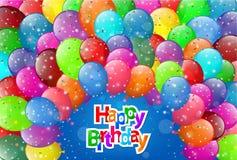 Cartão do feliz aniversario com balões coloridos Fotos de Stock Royalty Free