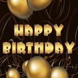 Cartão do feliz aniversario com balões dourados ilustração royalty free