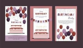 Cartão do feliz aniversario com balões Elementos da festa de anos Imagens de Stock