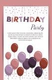 Cartão do feliz aniversario com balões Elementos da festa de anos isolados no fundo branco Imagem de Stock Royalty Free