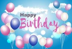 Cartão do feliz aniversario Com balões em um fundo do céu azul ilustração royalty free