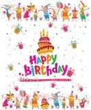 Cartão do feliz aniversario com bolo ilustração royalty free