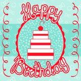 Cartão do feliz aniversario com bolo Fotografia de Stock
