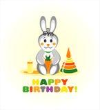 Cartão do feliz aniversario com coelho Foto de Stock
