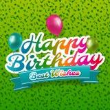 Cartão do feliz aniversario com confetes e balões Vetor Eps10 ilustração stock