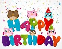 Cartão do feliz aniversario com coruja Fotos de Stock
