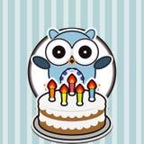 Cartão do feliz aniversario com coruja bonito Fotografia de Stock Royalty Free