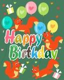Cartão do feliz aniversario com esquilo bonito Ilustração do vetor Esquilo bonito do bebê Fotos de Stock Royalty Free