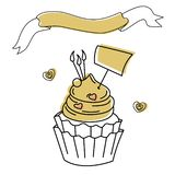 Cartão do feliz aniversario com a etiqueta para palavras ilustração stock