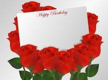 Cartão do feliz aniversario com flor das rosas Imagem de Stock Royalty Free