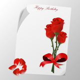 Cartão do feliz aniversario com flor das rosas Imagem de Stock