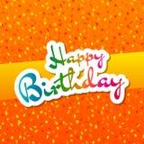 Cartão do feliz aniversario com fundo dos confetes Foto de Stock Royalty Free