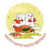 Cartão do feliz aniversario com os dois ursos bonitos Foto de Stock