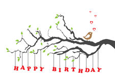 Cartão do feliz aniversario com pássaro ilustração do vetor