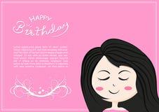Cartão do feliz aniversario com personagem de banda desenhada bonito dos sorrisos da menina, rotulação das crianças e caligrafia  ilustração do vetor
