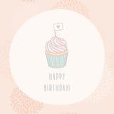 Cartão do feliz aniversario com queque Foto de Stock