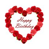 Cartão do feliz aniversario com rosas Fotos de Stock