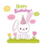 Cartão do feliz aniversario com um coelho ilustração royalty free