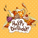 Cartão do feliz aniversario com um queque e um potenciômetro Fotografia de Stock Royalty Free