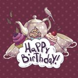 Cartão do feliz aniversario com um queque e um potenciômetro Foto de Stock Royalty Free