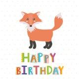 Cartão do feliz aniversario com uma raposa bonito ilustração do vetor